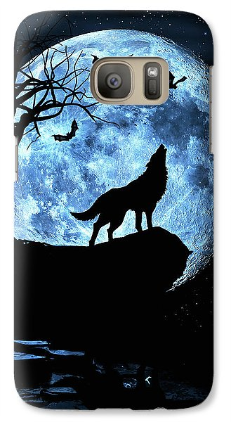 Galaxy Case featuring the photograph Wolf Howling At Full Moon With Bats by Justin Kelefas