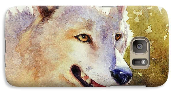 Galaxy Case featuring the painting Wolf In Morning Light by Bonnie Rinier