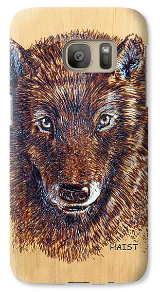 Galaxy Case featuring the pyrography Wolf by Ron Haist