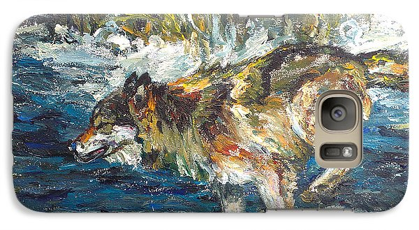 Galaxy Case featuring the painting Wolf Running by Koro Arandia