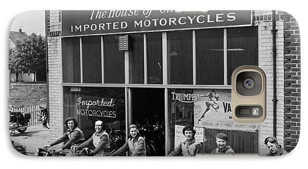 Galaxy Case featuring the photograph The Motor Maids Of America Outside The Shop They Used As Their Headquarters, 1950. by Lawrence Christopher