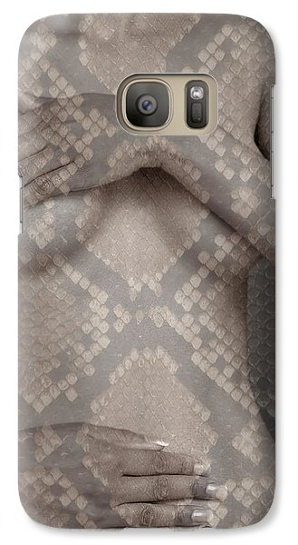 Galaxy Case featuring the photograph Woman Covering Her Breasts by Michael Edwards