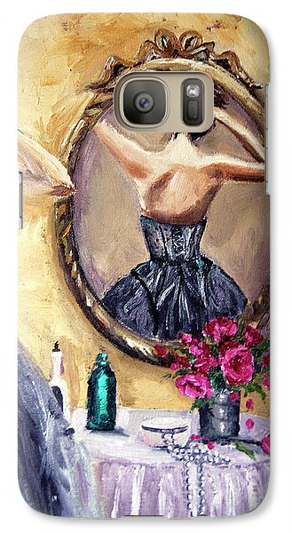 Galaxy Case featuring the painting Woman In Mirror by Jennifer Beaudet