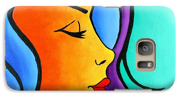Galaxy Case featuring the painting Woman Of Color, Eyes Closed by Bob Baker