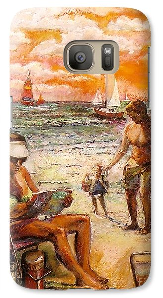 Galaxy Case featuring the painting Woman Reading On The Beach by Stan Esson