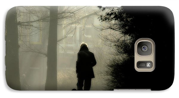Galaxy Case featuring the photograph Woman Walking Dog by Patricia Hofmeester