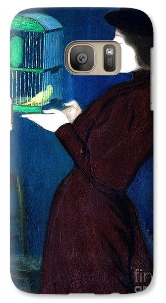 Parakeet Galaxy S7 Case - Woman With A Bird Cage  Detail by Jozsef Rippl-Ronai