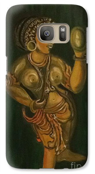 Galaxy Case featuring the painting Woman With A Mirror Sculpture by Brindha Naveen