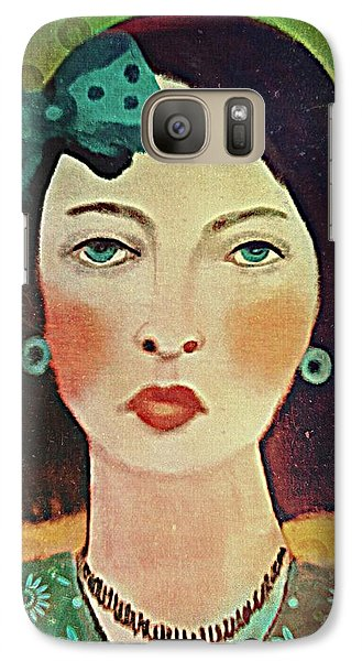 Galaxy Case featuring the digital art Woman With Blue Hair Bow by Alexis Rotella