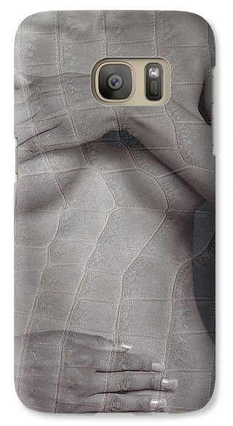 Galaxy Case featuring the photograph Woman With Hands On Breasts by Michael Edwards
