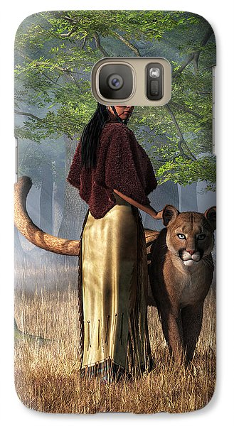 Galaxy Case featuring the digital art Woman With Mountain Lion by Daniel Eskridge
