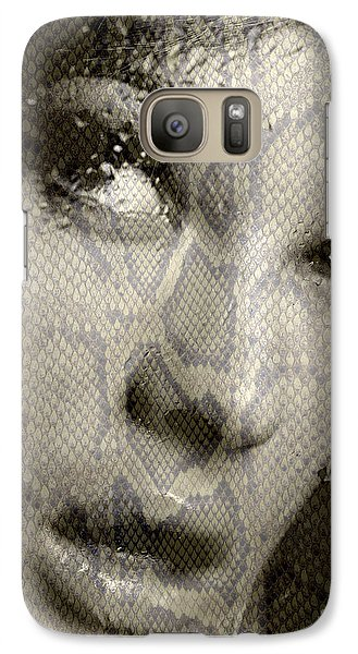 Galaxy Case featuring the photograph Womans Face With Water And Snake Texture by Michael Edwards