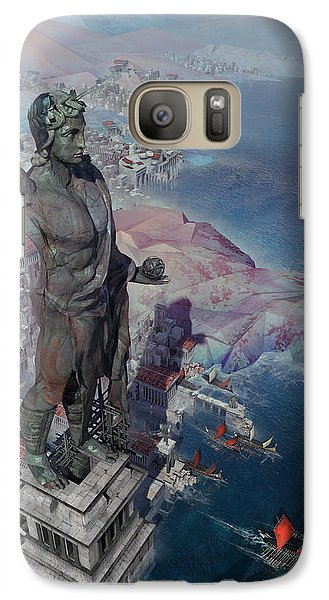 Galaxy Case featuring the digital art wonders the Colossus of Rhodes by Te Hu