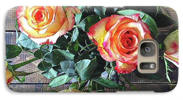 Peach Galaxy S7 Case - Wood And Roses by Shadia Derbyshire