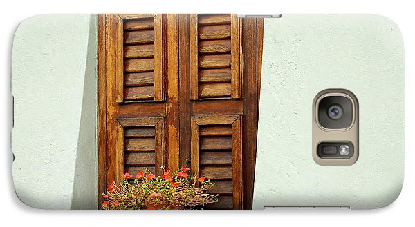 Galaxy Case featuring the photograph Wood Shuttered Window, Island Of Curacao by Kurt Van Wagner