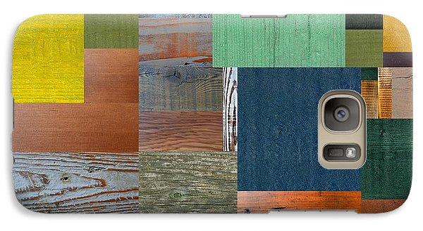 Galaxy Case featuring the digital art Wood With Teal And Yellow by Michelle Calkins