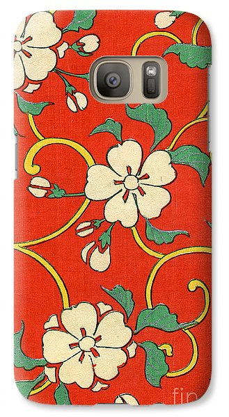 Woodblock Print Of Apple Blossoms Galaxy Case by Japanese School