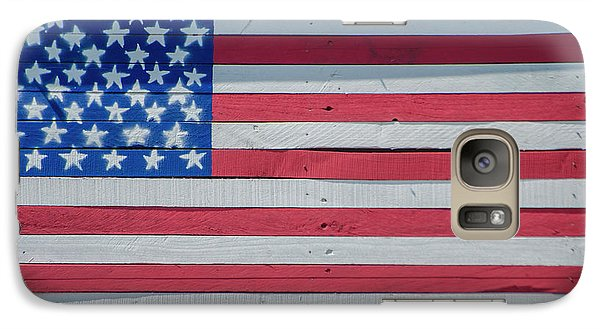 Galaxy Case featuring the photograph Wooden American Flag by Bill Cannon