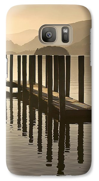 Galaxy Case featuring the photograph Wooden Dock In The Lake At Sunset by John Short