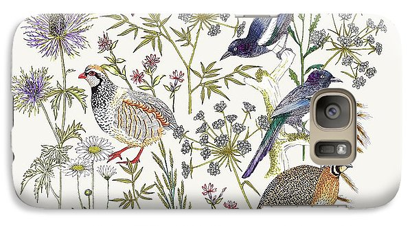 Woodland Edge Birds Placement Galaxy Case by Jacqueline Colley