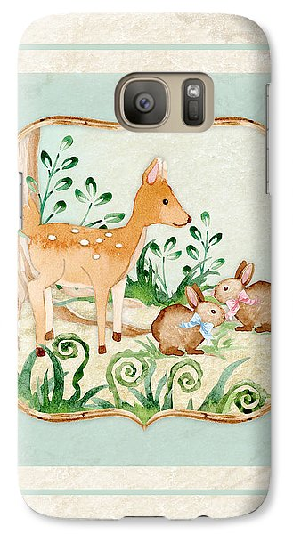 Woodland Fairy Tale - Deer Fawn Baby Bunny Rabbits In Forest Galaxy Case by Audrey Jeanne Roberts