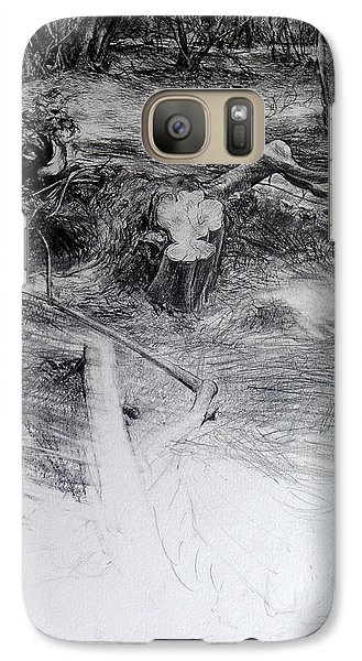 Galaxy Case featuring the drawing Woodland by Harry Robertson