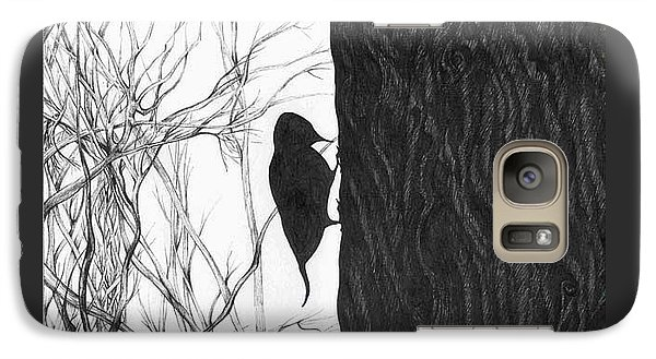 Galaxy Case featuring the drawing Woodpecker by Anna  Duyunova