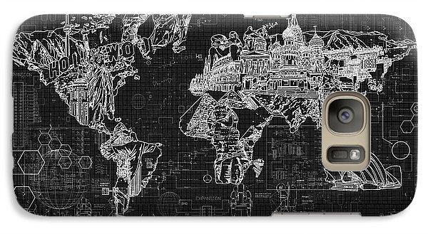 Galaxy Case featuring the digital art World Map Blueprint 2 by Bekim Art