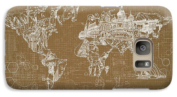 Galaxy Case featuring the digital art World Map Blueprint 4 by Bekim Art