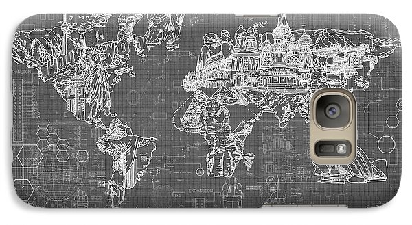 Galaxy Case featuring the digital art World Map Blueprint 5 by Bekim Art