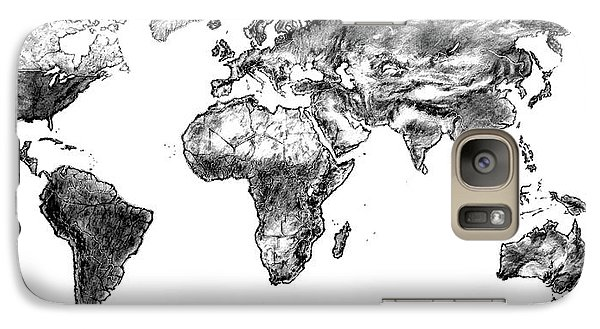 Galaxy Case featuring the drawing World Map In Graphite by Heidi Kriel