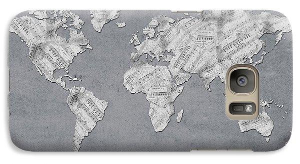 Galaxy Case featuring the digital art World Map Music 11 by Bekim Art