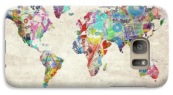 Galaxy Case featuring the digital art World Map Music 12 by Bekim Art