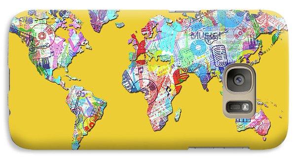 Galaxy Case featuring the digital art World Map Music 13 by Bekim Art