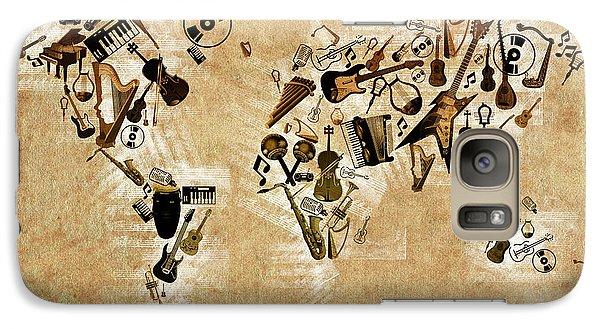 Galaxy Case featuring the digital art World Map Music 4 by Bekim Art
