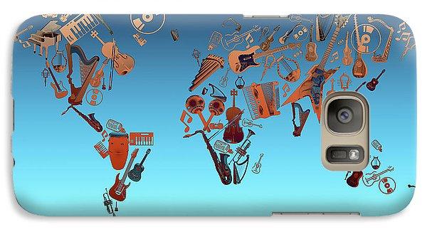 Galaxy Case featuring the digital art World Map Music 6 by Bekim Art