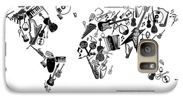 Galaxy Case featuring the digital art World Map Music 7 by Bekim Art