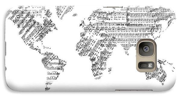 Galaxy Case featuring the digital art World Map Music 8 by Bekim Art