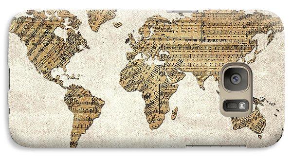 Galaxy Case featuring the digital art World Map Music 9 by Bekim Art
