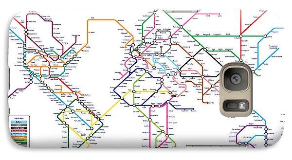 World Metro Tube Subway Map Galaxy S7 Case by Michael Tompsett