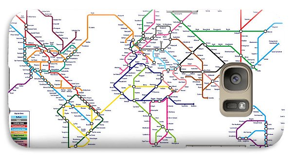 World Metro Tube Subway Map Galaxy S7 Case by Michael Tompsett