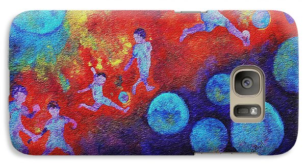 Galaxy S7 Case featuring the painting World Soccer Dreams by Claire Bull