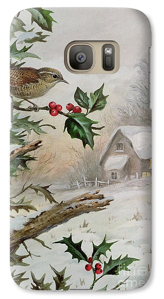 Wren In Hollybush By A Cottage Galaxy S7 Case by Carl Donner