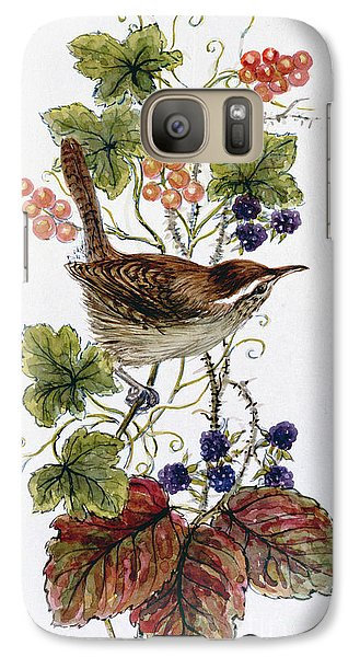 Wren On A Spray Of Berries Galaxy Case by Nell Hill