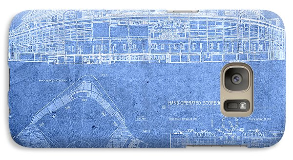 Wrigley Field Chicago Illinois Baseball Stadium Blueprints Galaxy S7 Case
