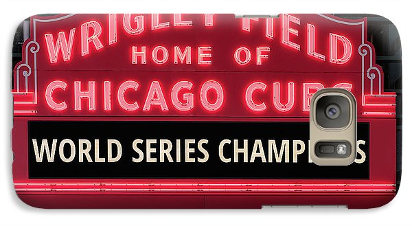 Wrigley Field Marquee Cubs World Series Champs 2016 Front Galaxy S7 Case by Steve Gadomski
