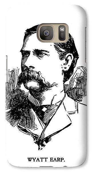 Galaxy Case featuring the mixed media Wyatt Earp Newspaper Portrait  1896 by Daniel Hagerman