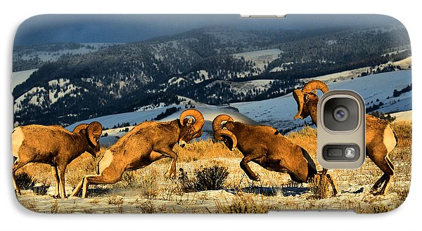 Galaxy Case featuring the photograph Wyoming Bighorn Brawl by Adam Jewell