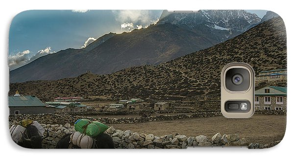 Galaxy Case featuring the photograph Yaks Moving Through Dingboche by Mike Reid