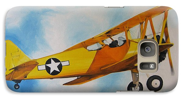 Galaxy Case featuring the painting Yellow Airplane - Detail by Jindra Noewi